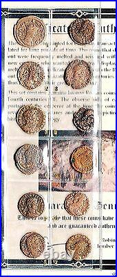 12 Bronze Roman Coins, Rise of Christianity in Ancient Rome, Album & Certificate