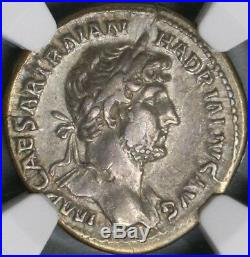 121 NGC XF Hadrian Roman Empire Denarius Emperor Coin Donation Scene (18102802C)