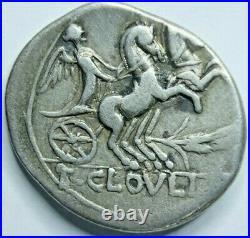 128 BC Ancient Silver Coin Roman Republic denarius T. Cloelius