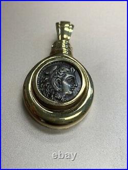 14 Karat Yellow Gold Ancient Roman Caesar Coin Pendant Enhancer 7.7 Grams