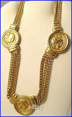14K GOLD ANCIENT GREEK ROMAN COIN 16 LINK ITALY VINTAGE CHAIN 14.2g NECKLACE