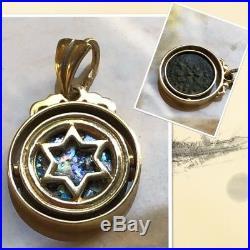 14K Star of David Pendant Swivel Widow's Mite Coin & Roman Ancient Glass SALE