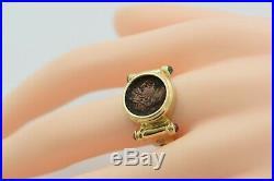 14K YG Ancient Roman Bronze Coin Ring Circa 300 AD Size 7.75 Circa 1980