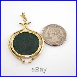 14K Yellow Gold Greek Roman Antique Ancient Coin Dangle Pendant LQ2-G