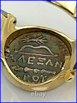 14KY Solid Gold Ancient Macedonian Greek Roman Aaeean Apoy Coin Ladies Ring 7.25