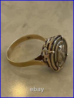 14k 585 GOLD Designor Hallmarked ANCIENT ROMAN/Greek COIN RING Alexander Size 7