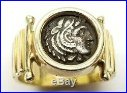 14k GOLD Hercules Wearing lion skin ANCIENT ROMAN COIN RING Alexander The Great