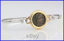 14kt Gold & Sterling Silver Bracelet Ancient Roman Bronze Coin Constantine I