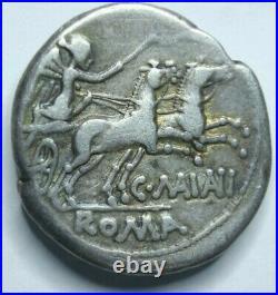 153 B. C. Silver roman republic denarius coin of C Maianius Denarius