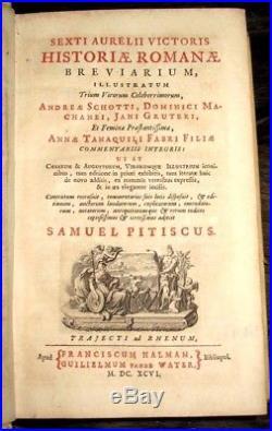 1696 HISTORY Ancient ROME Roman VELLUM Latin BOOK Numismatics COINS Caesar MONEY