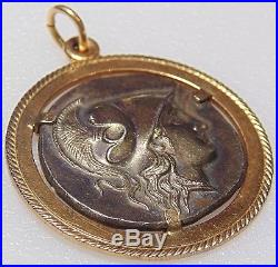 18K 750 Solid Yellow Gold Silver Roman Ancient Coin Pendant for Necklace