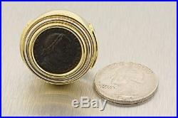 18K Yellow Gold Ancient Coin Greek Roman Pendant Slide Enhancer Heavy 27.3g
