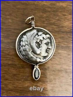 18k Yellow Gold Ancient Roman Coin Pendant With Marquis Sapphire