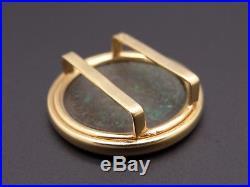18k Yellow Gold Ancient Roman Coin Round Diamond Omega Slide Pendant Maximianus