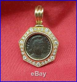 18kt Ancient Roman Coin Diamond Bezel Pendant 307-237 Ad Constantinus I Coin