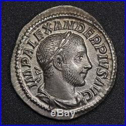 232 A. D. Emperor Severus Alexander, Ancient Roman Empire Silver AR Denarius Coin