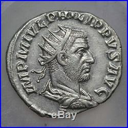 245 A. D. Emperor Philip I, Ancient Roman Empire Silver AR Antoninianus Coin