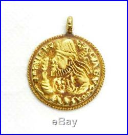(3.0g) ANCIENT KUSHAN COIN PENDANT BEAUTIFUL ROMAN 18 KARAT GOLD Very RARE