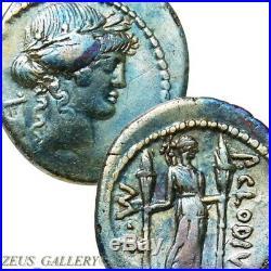 42 BC Octavian, MARK ANTONY Apollo Claudia 15 Ancient Roman Silver Denarius Coin