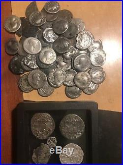 65 Ancient Roman Silver Denarius Coin Lot, Lifetime Silver Collection