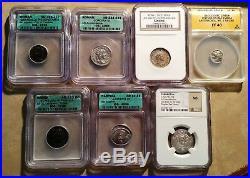 7 Slabbed Ancient Coins Roman, Greek, Parthia, Tabaristan