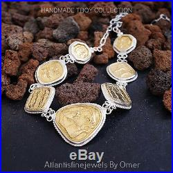 925k Fine Sterling Silver Large Coin Necklace Handmade Ancient Roman Art By Omer