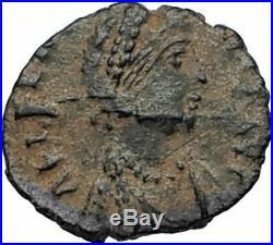 AELIA FLACILLA Theodosius I Wife 383AD Ancient Roman Coin VICTORY CHI-RHO i67486