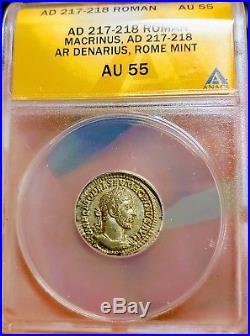 ANACS Ancient Roman Coin Macrinus 217AD Silver Denari AU 55 Beautiful Coin