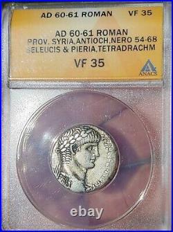ANACS Ancient Roman Coin Nero tetradrachm 60 AD Antioch Mint Beautiful Coin