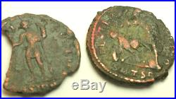 ANCIENT AUTH. 2 ROMAN COINS 307 361 AD SPEARING and EMPEROR Holding GLOBE