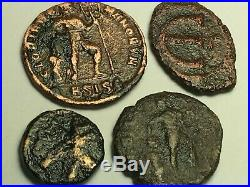 ANCIENT AUTH. 4 RARE$ Coins 2 ROMAN 307 AD. DRAGGING & 2 BYZANTINE 527 AD CHI-R