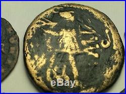 ANCIENT AUTH. 6 RARE$ Coins 2 GREEK 400 BC, 2 ROMAN 307 AD & 2 BYZANTINE 527 AD