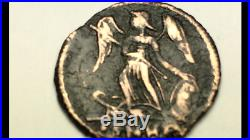 ANCIENT AUTH. ROMAN 2 Coins WINGED VICTORY holding SHIELD & 2 LEGION 307-361 AD