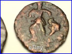 ANCIENT Auth. 2 ROMAN Coins NUDE GOD JUPITER 307 -337 AD & ARCADIUS 383 -408AD