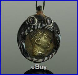 ANCIENT PHOENICIAN GLASS PENDANT WITH COIN 4th Century BC