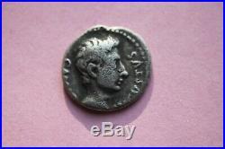 ANCIENT ROMAN AUGUSTUS SILVER DENARIUS COIN 1st CENT BC/AD CAESAR