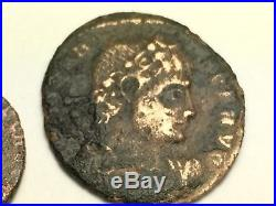 ANCIENT ROMAN Auth. 2 coin$. 2 LEGION SOLDIERS 307-361 AD & VICTORY DR. CAPTIVE