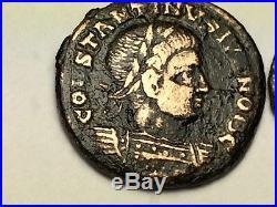 ANCIENT ROMAN Auth. 2 coin$ CONSTANTIUS 337 AD VICTORY & WREATH VOT V 307 AD