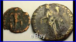 ANCIENT ROMAN Auth. 2 coin$ PIUS 138 -161 AD. CONCORDIA & DRAGGING CAPTIVE 337
