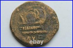 ANCIENT ROMAN POSTUMUS SESTERTIUS COIN GALLEY SHIP 3rd CENTURY AD