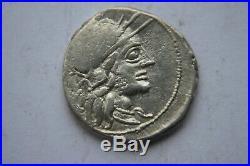 ANCIENT ROMAN REPUBLIC DENARIUS COIN 2nd CENTURY BC Charriot