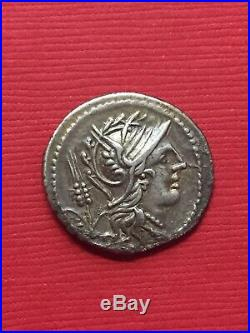 ANCIENT ROMAN Republic Denarius Silver Coin L. JULIUS 101 B. C. Victory In BIGA