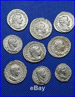 ANCIENT ROMAN SILVER COINS LOT OF 9 MIXED EMPERORS & MINT 100% AUTHENTIC 34.55Gr