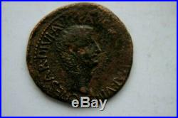 ANCIENT ROMAN TIBERIUS and LIVIA AS COIN 1st CENT AD 12 CAESAR