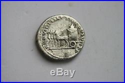 ANCIENT ROMAN TITUS SILVER DENARIUS COIN 1st CENT AD CAESAR QUADRIGA
