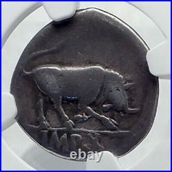 AUGUSTUS 15BC Authentic Ancient Silver Roman Coin BULL of Thourioi NGC i81547