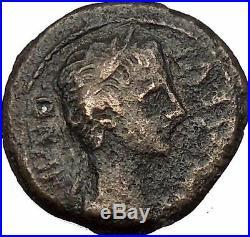 AUGUSTUS 8BC Caesaraugusta Spain Semis Vexillum Ancient Roman Coin i52776