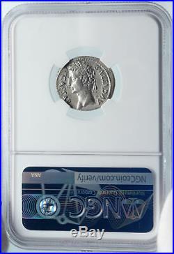 AUGUSTUS Ancient 19BC DEIFIED JULIUS CAESAR COMET Silver Roman Coin NGC i85493
