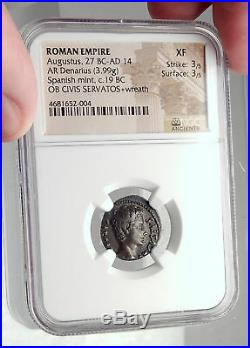 AUGUSTUS Authentic Ancient 19BC Silver Roman Coin OB CIVIS SERVATOS NGC i72342