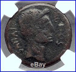 AUGUSTUS & Divus JULIUS CAESAR 38BC Sestertius Ancient Roman Coin NGC i60214